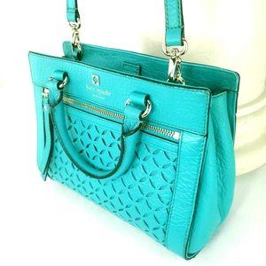 KATE SPADE Perri Lane Romey Satchel Freemont Leather Shoulder Bag Turquoise